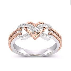 White Topaz 925 Silver Heart infinity ring sz 6-9